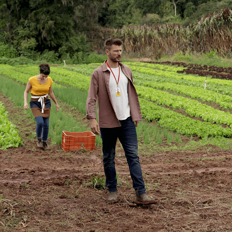 Rodrigo o estagiario, the intern, walking in a spice field. Maroon shirt and blue jeans. Woman standing behind him in a yellow shirt and dark hair. Orange crate in the background. - Link to Instagram post